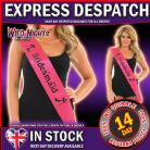 HEN NIGHT PARTY BRIDESMAID SASH - PINK WITH BLACK